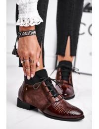 Stilingi aukštos kokybės rudi madingi natūralios odos batai - 04744-02/00-7 BROWN