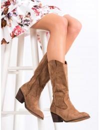 Zomšiniai aukštos kokybės kaubojiško stiliaus madingi batai\n - H9251KH