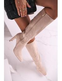 Women's Knee-High Boots Eco-Suede Beige Truly Love - MVP300 BEIGE