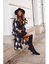 Women's high boots Sergio Leone suede warm black KZ292 - KZ292 BLK MIC