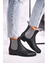 Stilingi juodos matinės spalvos juodi guminiai batai - DC03 BLACK