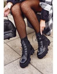 Madingi juodos spalvos batai su platforma - HX18 BLACK