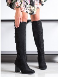 Juodi stilingi zomšiniai ilgaauliai su pašiltinimu - W148-1B