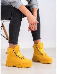 Ryškūs geltoni zomšiniai stilingi aulinukai su platforma FASHION  - LT939Y