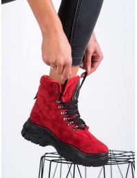 Ryškūs raudoni zomšiniai stilingi aulinukai su platforma FASHION  - LT939R