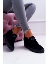 Švelnios pilkos spalvos zomšiniai batai su platforma Lu Boo Black Kaori - XW36272 BLK