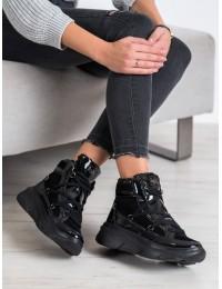 Madingi juodos spalvos aukštos kokybės batai su platforma ir avikailiu - W20-1005B