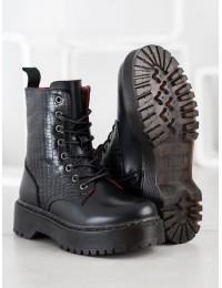 Aukštos kokybės stilingi juodi batai su patogia platforma - 20219B