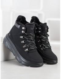Šilti patogūs juodi batai aktyviai dienai ar laisvalaikiui - W20-1004B