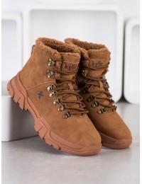Šilti patogūs rudi batai aktyviai dienai ar laisvalaikiui - su avikailiu - W20-1001C