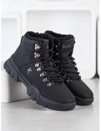 Šilti patogūs juodi batai aktyviai dienai ar laisvalaikiui - su avikailiu - W20-1001B