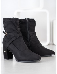 Stilingi juodos spalvos aukštos kokybės zomšiniai aulinukai - HF229B
