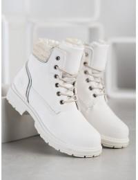 Baltos spalvos šilti aulinukai su veliūro apdaila - LT801W