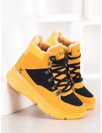 Madingi patogūs geltonos spalvos batai su kailiu - W20-1004Y