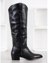 Aukštos kokybės odos juodi stilingi ilgaauliai su pašiltinimu - RB91B