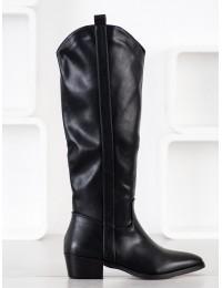 Aukštos kokybės odos juodi ilgaauliai su pašiltinimu\n - RB92B