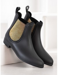Juodi stilingi guminiai batai su aukso spalvos motyvais - DC05B