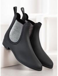 Juodi stilingi guminiai batai su sidabro spalvos motyvais - DC03B