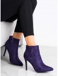 Elegantiški violetinės spalvos zomšiniai aukštakulniai aulinukai - OM5407PU