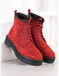 Raudonos spalvos zomšiniai suvarstomi aukštos kokybės aulinukai - DM20-262R