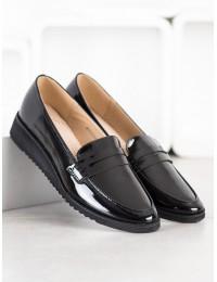 Klasikinio stiliaus juodi lakuotos odos elegantiški mokasinai - GD-FL333B