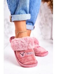 Jaukios patogios namų šlepetės Pink Teddy - CJ-7 POWDER PINK
