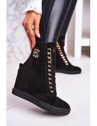Prabangaus stiliaus natūralios odos madingi juodi batai  - 2222/066/z BLK GOLD