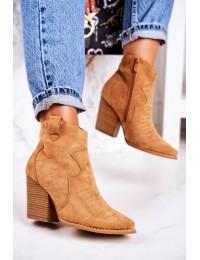 Moteriški zomšiniai kaubojų stiliaus batai ant kulno - A5602-32 CAMEL