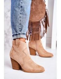 Moteriški zomšiniai kaubojų stiliaus batai ant kulno - A5602-63 BEIGE