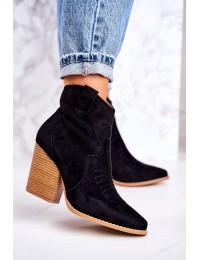 Moteriški zomšiniai kaubojų stiliaus batai ant kulno - A5602 BLACK