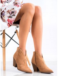 Zomšiniai kaubojiško stiliaus batai ant kulno - D7626KH