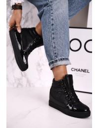 Stilingi juodi batai su platforma - R20-2 BLACK