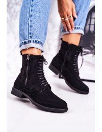 Stilingi juodos spalvos zomšiniai aulinukai su pašiltinimu - A8315/A SUEDE BLK