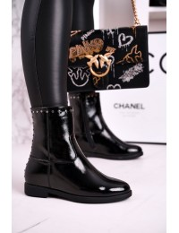 Elegantiški aukštos kokybės batai su pašiltinimu - A8301/B SHINY BLK