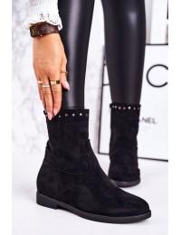 Elegantiški aukštos kokybės zomšiniai batai su pašiltinimu - A8301/A SUEDE BLK