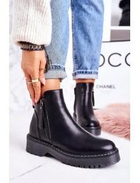 Madingi juodos spalvos batai su platforma - 20Y8138-1 BLK