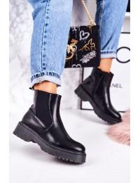 Madingi juodos spalvos batai su platforma - 20Y8070-1 BLK