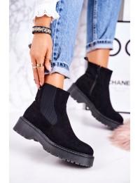 Madingi juodos spalvos zomšiniai batai su platforma - 20Y8156-1 BLK