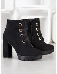 Stilingi juodi zomšiniai batai - L8126B