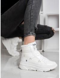 Baltos spalvos patogūs batai su avikailiu - W20-1005W