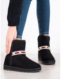 Patogūs juodi zomšiniai UGG stiliaus batai su perlų juostele - X08B