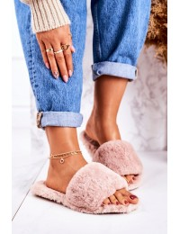 Women's Furry Slippers Pink Cold Days - W-18 PINK