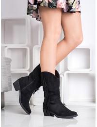 Stilingi juodi kaubojiški ilgaauliai su kutais - K870B