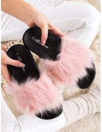 Stilingos šlepetės su rožinės spalvos kailiuku - RS-9LT.P