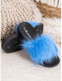 Stilingos šlepetės su mėlynos spalvos kailiuku - RS-9BL