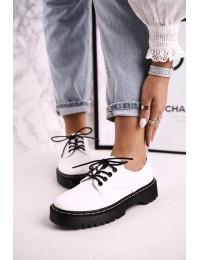 Baltos spalvos stilingi aukštos kokybės batai su platforma - HX62 WHITE
