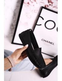 Natūralios odos juodi aukštos kokybės stilingi mokasinai - LR97630 BLACK