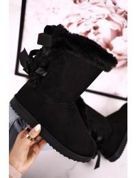 UGG stiliaus juodi šilti batai su kaspinėliais - LV59P BLK