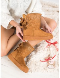 Šilti patogūs camel spalvos batai su kaspinėliais - LT985C