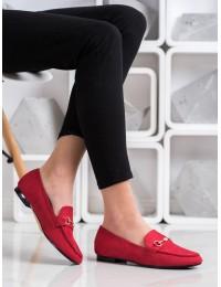Raudonos spalvos elegantiški zomšiniai mokasinai - GD-FL611R